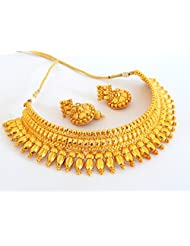 Indian Attire Women's One Gram Gold Plated Bridal Collar Necklace Set JWBANT7