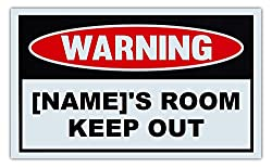 Custom Made Novelty Warning Sign - NAME s Room Keep Out - You Specify Name - Great Gift Idea For Kids Children Boys Girls - 10 x 6 Plastic Sign
