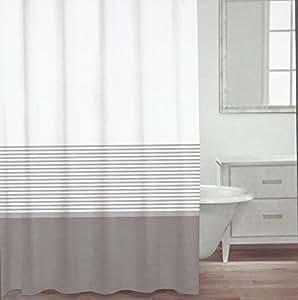 Amazon Com Caro Home 100 Cotton Shower Curtain Wide Stripe Fabric Shower Curtain Striped