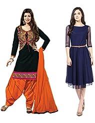 Sky Global Women's Regular Wear Dress Material And Kurti (Combo Pack Of 2)(SKY_DK_9036)(SKY_547_Black)(SKY_7009...
