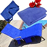 KING DO WAY Microfiber Lounge Chair Beach Towel With Pockets Holidays Sunbathing Quick Drying Towels Blue