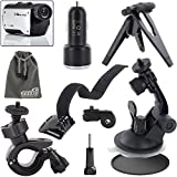EEEKit Sports Kit for Midland XTC280VP/XTC200VP3/XTC300VP4/XTC350VP4/XTC450VP,Wrist Strap Band MountMini Hand Grip Folding Tripod+Bike Handlebar Mount+Car Windshield Suction Cup Mount+Car Charger