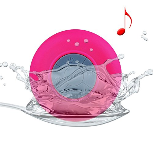 Allmet Waterproof Wireless Bluetooth Stereo Shower Speaker, Mini Ultra Portable Handsfree Speakerphone With Built-In Mic. Compatible With All Bluetooth Devices Iphone And All Android Devices (Pink)