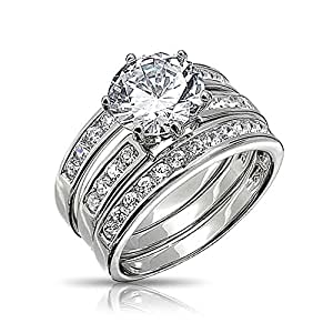 Bling Jewelry Round Cut 3 Piece CZ Bridal Engagement Ring Set Sterling Silver