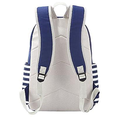 S-ZONE Large Preppy French Breton Nautical Striped Backpack Rucksack Marine Sailor Navy Stripy School Bags for Women Ladies Girls