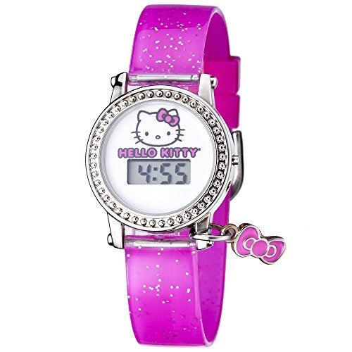 Hello-Kitty-Watch-Digital-LCD-Display-on-White-Dial-with-Hello-Kitty-Image-Pink-Strap-and-Bowtie-Charm