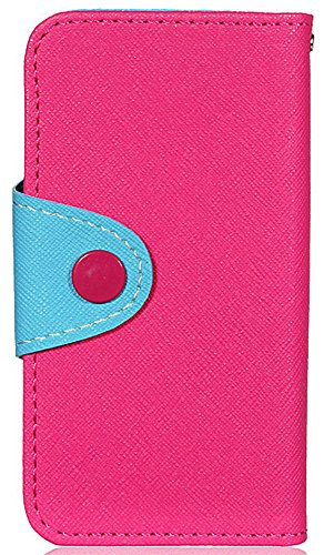 Mylife (Tm) Rose Pink And Breeze Blue - Modern Design - Textured Koskin Faux Leather (Card And Id Holder + Magnetic Detachable Closing) Slim Wallet For Iphone 5/5S (5G) 5Th Generation Smartphone By Apple (External Rugged Synthetic Leather With Magnetic Cl