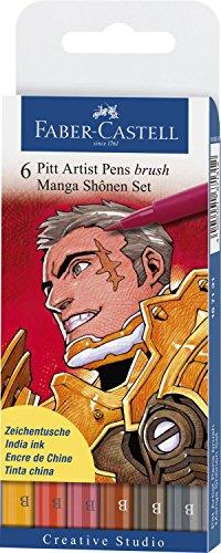 Faber-Castel PITT Artist Manga Brush Pens, Assorted Colors, 6-Pack