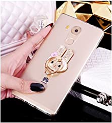 buy Tip-Top® Huawei Mate 8 Case Transparent Soft Silicone Tpu Back Cover Case + Luxury Diy Metal Stainless Ring Stand Holder With Diamonds Rhinestones Crystal For Huawei Ascend Mate8(Whitle Rabbit)