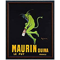 MAURIN QUINA LE PUY - Green Devil, c.1906 Framed Fine Art Poster Print by Leonetto Cappiello, 16x20 (18x22, Dark walnut with black trim real wood frame #4)