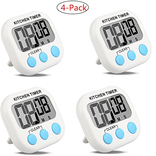 4-Pack Countdown Timer Kitchen Timer Cooking Timer Digital Timer Clock Timer with Large Screen Magnet for Kitchen Cooking Baking Sports Games Office (4-Pack) (Duck Egg Timer compare prices)