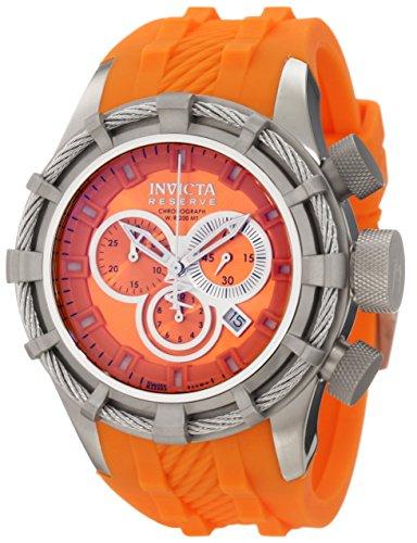 Invicta Men's 1227 Reserve Sport and Bolt Chronograph Orange Dial Orange Silicone Watch