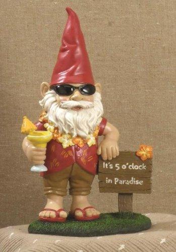 It's 5 o'clock in Paradise Garden Gnome Art Statue Decor
