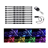 GHB Motorcycle LED Light Kit RGB Multi-Color Remote Accent Neon Flexible Strips with Wireless Remote Control