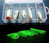 強力アピール 夜光 ルアー 5個 セット クランクベイト ミノー バイブレーション ホッパー ペンシルベイト 夜釣り (1セット)