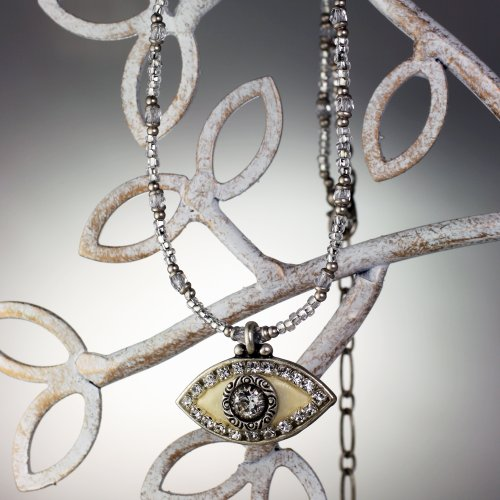 Michal Golan Crystal and Enamel White Evil Eye Necklace with White Bead Chain