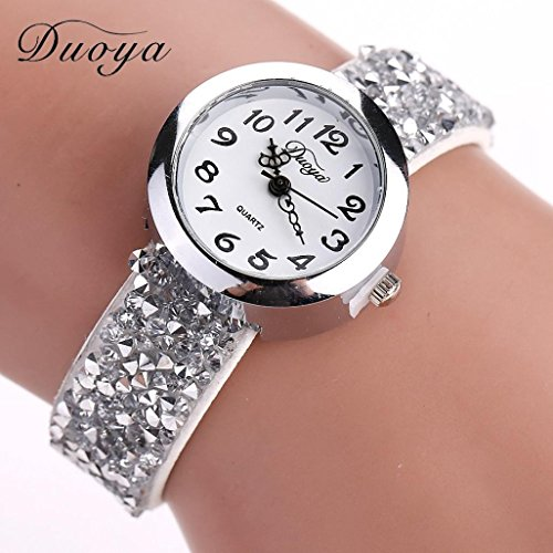 Ecosin® Watches Women Quartz Digital Watch Bracelet Round Gemstone Wristwatch Diamond (White) (Diamond And Gem Bracelets compare prices)