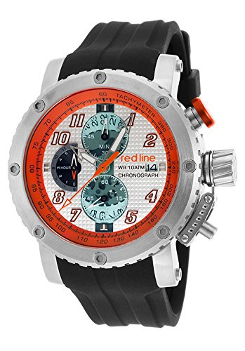 red line Men's 'GTO' Quartz Stainless Steel and Silicone Automatic Watch, Color:Black (Model: RL-308C-02S-OA) (Red Line Orange Dial Watch compare prices)