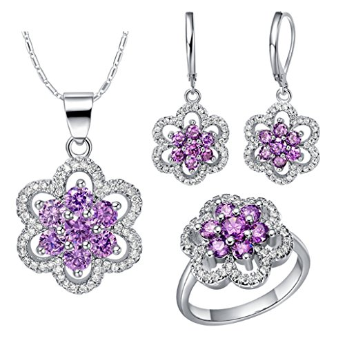 Epinki, Platinum Plated Fashion Jewelry Set Pendant Necklace Rings Earrings Zircon Size 9