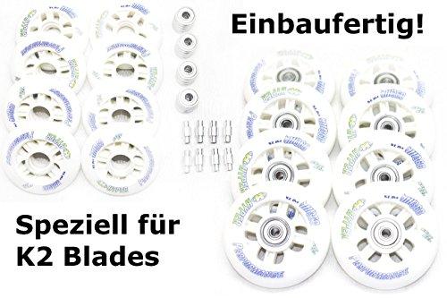 8er Set K2 Inliner Rolle fertig montierte HYPER NX360 Rolle 80mm + Lager ABEC7 + Alu-Spacer 6mm
