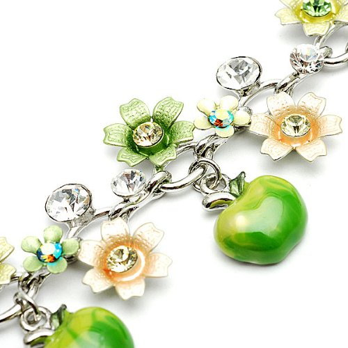 Perfect Gift   High Quality Green and Light Green Flower Bracelet with Swarovski Crystals and Green Apple Charms   21cm (1128)