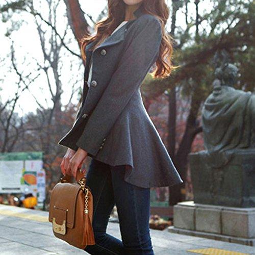 Lookbookstore Cotton Slim Asymmetric Fit-And-Flare Peplum Hem Lapel Detailing Women'S Blazer Grey Us 8