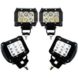 TMS® 4 X 18w 1260lm Cree Spot Led Work Light Bar for Off-road SUV Boat 4x4 Jeep Lamp 4wd . Pack of 4 (2 pairs)