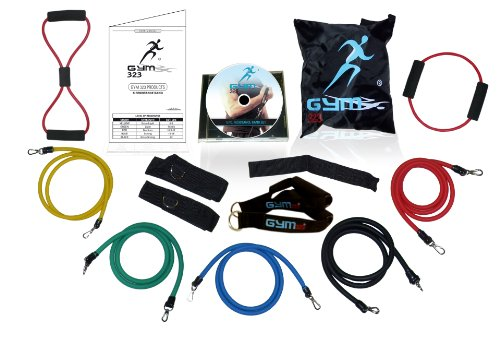 15 Pcs of Gym323® 226lbs of Extreme Resistance Band Set for Men and Women. With D.L.T (Double Dipped Latex Tubes) O-8 Shaped included