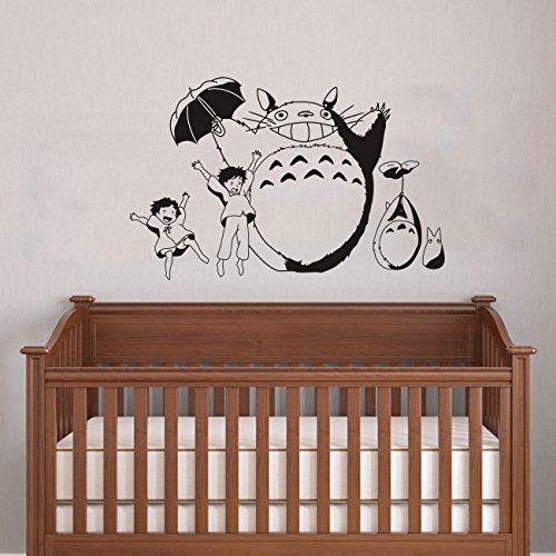 "Totoro Wall Art Decal Nursery Wall Decor Mural Kid'S Room Wall Vinyl Sticker Multi-Color Available 36"" Totoro Theme Wall Art For Nursery School Hospital (Black) front-128149"