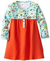 Zutano Baby-Girls Infant Penny Lane Henley Dress, Aqua, 24 Months