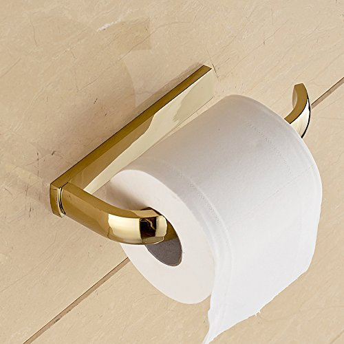 LeydenTM Gold Finish Half Open Toilet Roll Paper Rail Holder Wall Mounted Brass Material Convenient Toilet Tissue Single Rail Holder