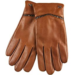 ELMA Men\'s Nappa Leather Winter Gloves Gold Plated Logo Snake Skin Details (L, Tan)