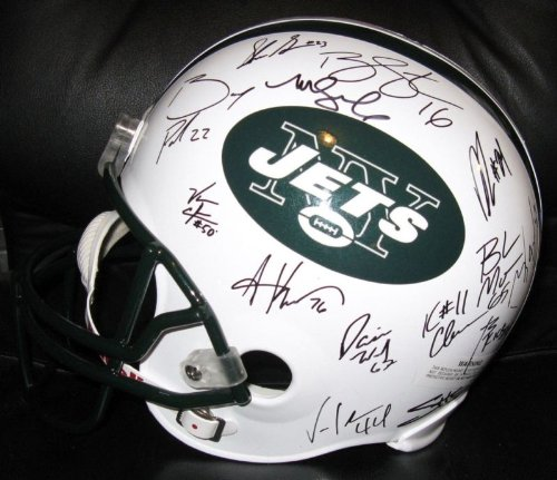 2010-11 NEW YORK JETS TEAM SIGNED AUTOGRAPHED FULL SIZE HELMET W/ HOLOGRAM + COA SANCHEZ +