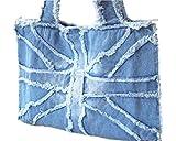 サンルート21 デニム鞄 手提げ バッグ ユニセックス (ライトブルー)