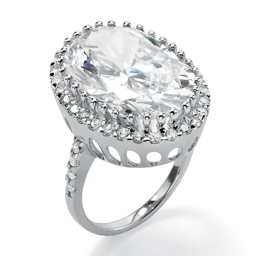 Lux Platinum Over Silver Oval-Cut and Round CZ Ring Size 9