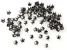 SODIAL(R) 100X Apliques Remaches 5mm Gris Oscuro Cuadrado Tachuelas Bolsa/Calzado/Guante