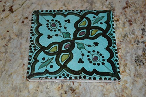 Moroccan Hand painted Ceramic Tile Decorative Spanish Moorish Coaster