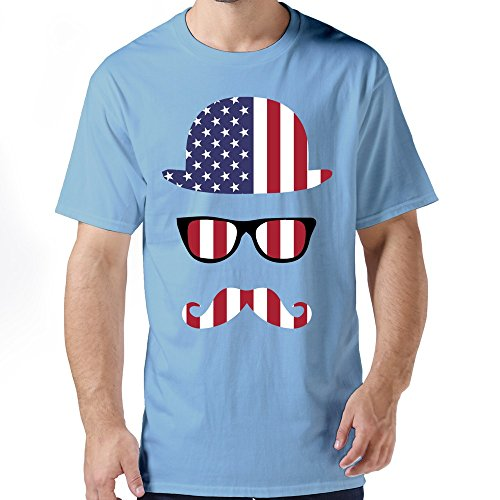 JIALE Men's Funny Moustache Love USA Flag T Shirt SkyBlue