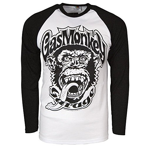 Officially Licensed Merchandise Gas Monkey Garage 04 Baseball Long Sleeve (Black/White), Medium