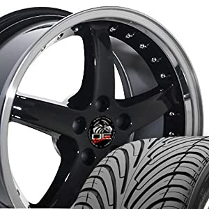 Cobra R Deep Dish Style Wheels and Tires with Rivets and Machined Lip Fits Mustang (R) - Black 18x9 Set of 4