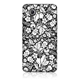 Ecell - HEAD CASE FLORAL BLACK & WHITE SNAP BACK CASE FOR SAMSUNG I9070 GALAXY S ADVANCE