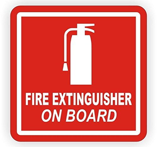 """1 Pc Spine-tingling Modern Fire Extinguisher On Board Car Sticker Camper Label Kit On Board Industrial Safety Size 2"""" x 2"""" Colors White on Red"""