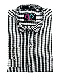 Formals by Koolpals-Cotton Blend Shirt SQUARES NIGHT AND DAY (B&W)