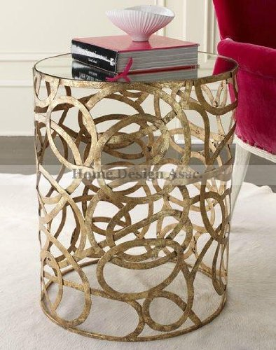 Mirror Top Iron Swirl Scroll Accent Table Gold Contemporary Modern