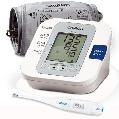 Cheap Omron BP742 5 Series Upper Arm Blood Pressure Monitor with Thermometer (BP742KIT)