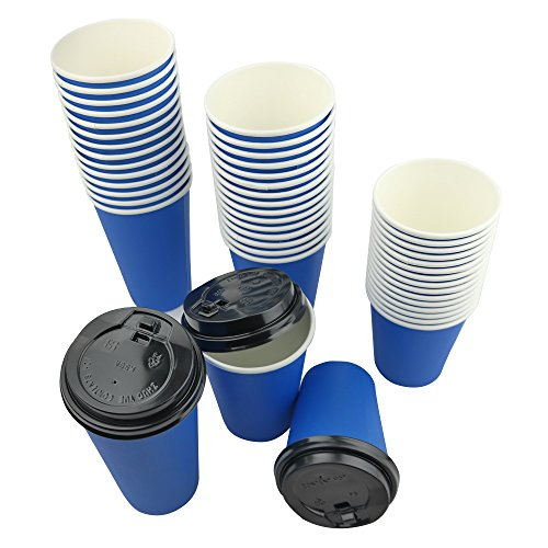 Ggbin 12 Oz Paper Cups with Black Lids, Blue, Qty of 100