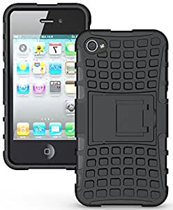 CARAT SUTRA Defender Series Dual Layer Hybrid TPU + PC Kickstand Case Cover for Apple iPhone 4 (Black)