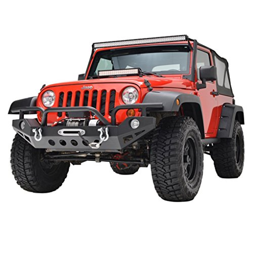 Restyling Factory Jeep Wrangler JK Black Full Width Front Bumper With OE Fog Lights Hole and Winch Plate JK Jeep Wrangler