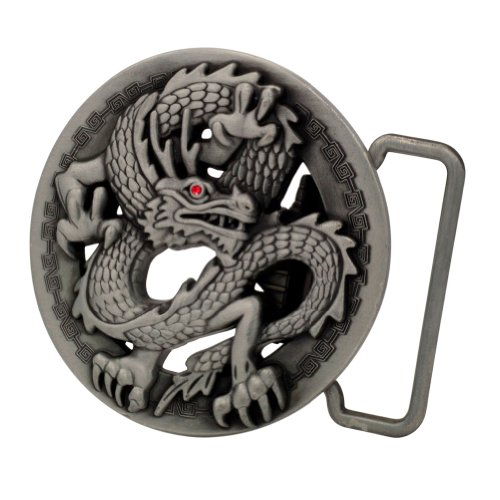 Buckle Rage Adult Unisex 3D Ancient Chinese Dragon Belt Buckle Circle Silver
