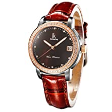 buy Gute Luxury Black Pearl Dial Ladies Automatic Mechanical Wristwatch Brown Strap Diamonds Rose-Gold